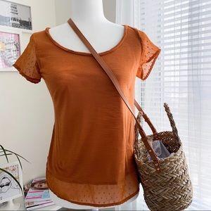 Lucky Brand Burnt Orange Tee Women's Size Small